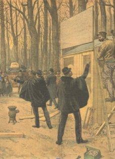 Le 14décembre 1911: drapeau rouge rue de Dantzig à Paris