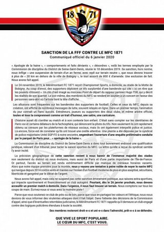Communiqué officiel du Ménilmontant football club 1871