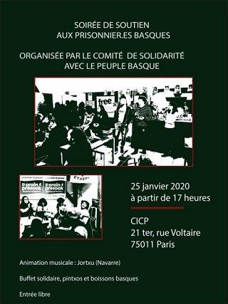25janvier: Soirée de solidarité avec les prisonnier·e·s politiques basques